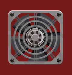 cooling system fan behind grey metal grille vector image