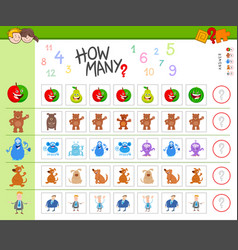 Counting task with cartoon characters vector