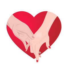 couple holding hands on red heart vector image