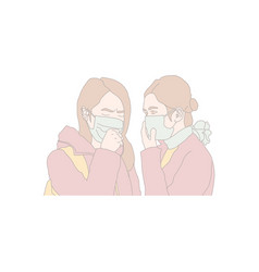 Couple student girl crowd in protective mask vector