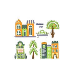 cute city landscape elements set town residential vector image