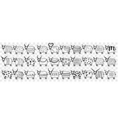 cute cows in rows doodle set vector image