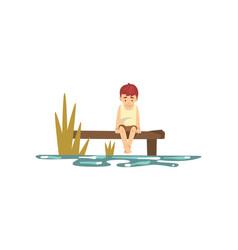 Cute little boy cartoon character sitting on pier vector
