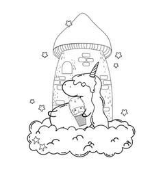 cute unicorn with ice cream kawaii vector image
