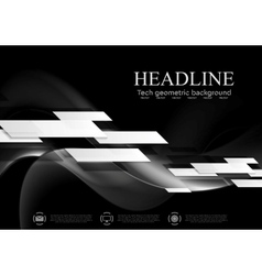 Dark abstract tech wavy background vector image
