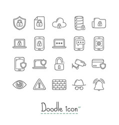 doodle security icons vector image