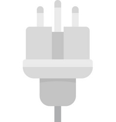 Electric wire plug icon flat isolated vector
