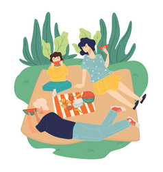 Family on picnic on weekends summer activities vector