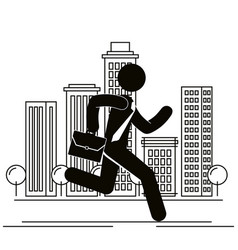 Figure businessman runnung in the city avatar vector