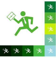Flat running man icon business theme vector