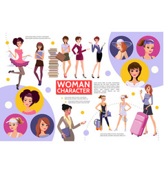 Flat woman characters infographic concept vector