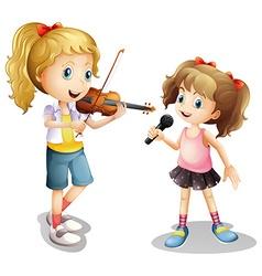 Girl singing and girl playing violin vector image