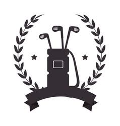 golf bag with clubs emblem vector image