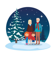 grandparents couple with kids in snowscape vector image