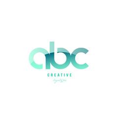Green gradient pastel modern abc a b c alphabet vector