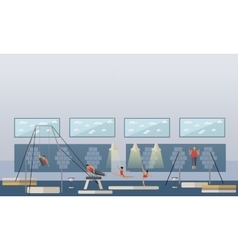 Gymnastic sport competition arena interior vector
