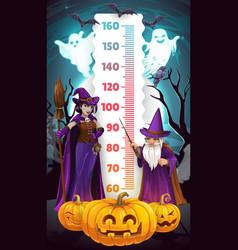 Halloween kids height chart cartoon witch wizard vector