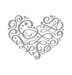 hand drawn heart love valentine flourish separator vector image