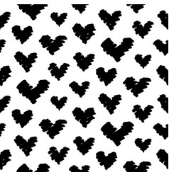 Hand drawn hearts doodles seamless pattern vector