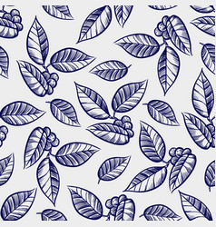 hand drawn leaves with berries seamless pattern vector image