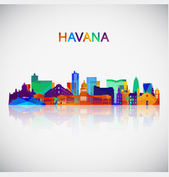 havana skyline silhouette in colorful geometric vector image