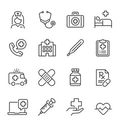 healthcare industry medicine linear icons vector image