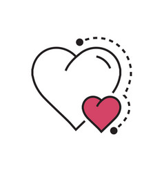 Heart mini icon dots style pink vector