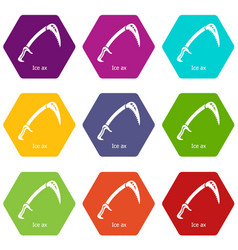 ice ax icons set 9 vector image