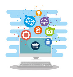 laptop technology and social digital apps vector image