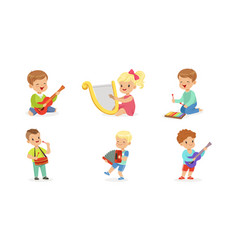 little kids playing musical instruments vector image