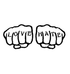 Love hate tattoo vector