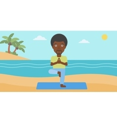 Man practicing yoga vector image