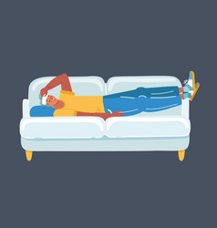man with headache on sofa on dark vector image