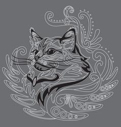 Monochrome ornamental cat 5 vector