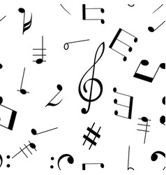 Music signs seamless pattern black notes and vector