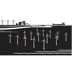 Offshore wind turbines farm vector