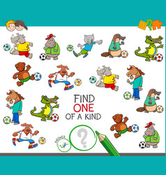 One of a kind with footballers animals vector