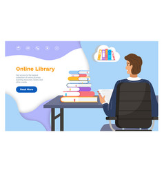 online library landing page template with a man vector image