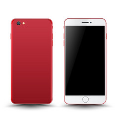 Red smartphone mockup vector