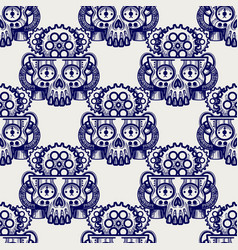 Robot skull with gears seamless pattern vector