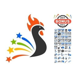 Salute rooster icon with 2017 year bonus symbols vector