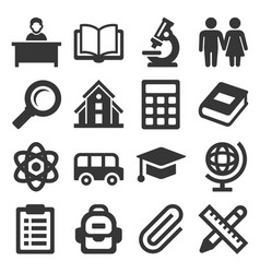 School icons set on white background vector