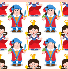 seamless pattern with cartoon queen and prince vector image