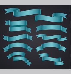 Set blue curved ribbon or banner vector