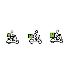 Set delivery icons a bike courier with a cargo vector