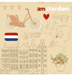 set of Amsterdam symbols vector image