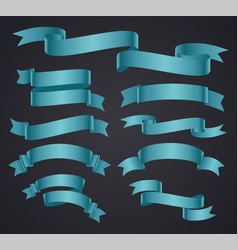 Set of blue curved ribbon or banner vector