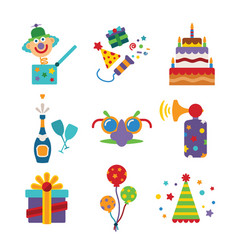 Set of colorful celebration icons in flat style vector