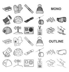 Ski resort and equipment monochrom icons in set vector