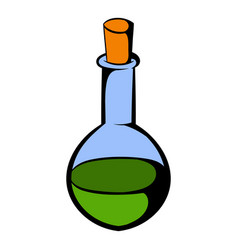 Small bottle with a green potion icon vector